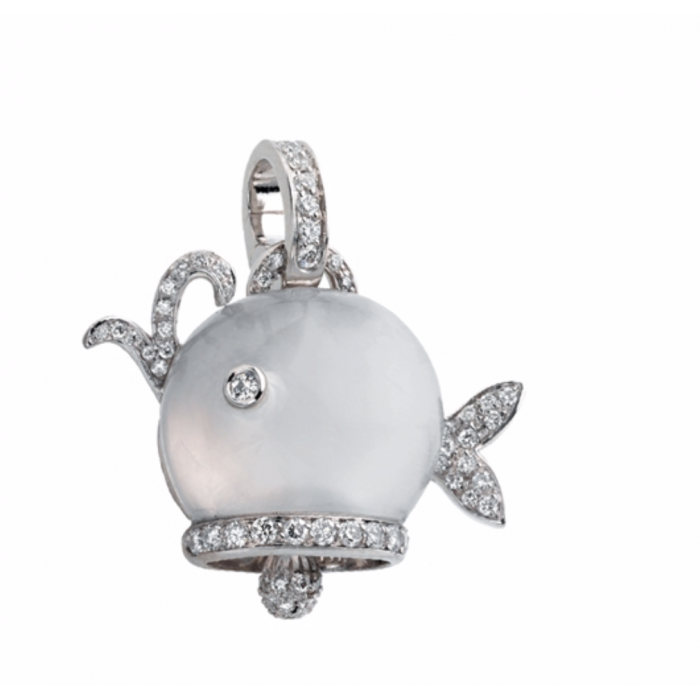 Ciondolo Balena in oro bianco, diamanti e quarzo latteo
