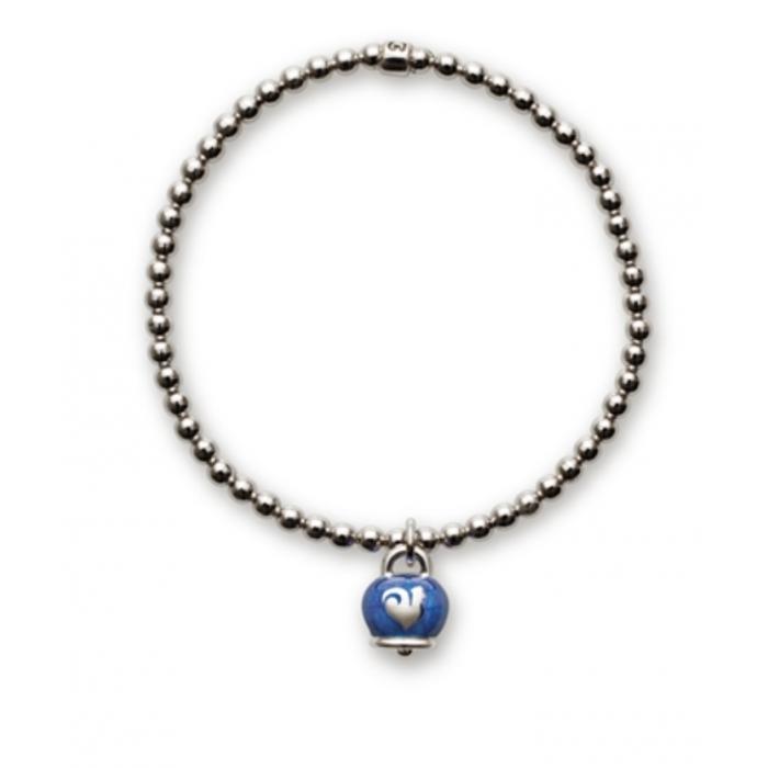 Bracciale in argento con ciondolo campanella micro in argento con smalto blu
