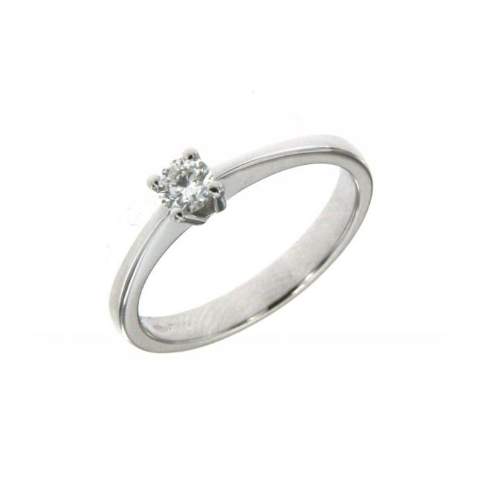 Anello solitario 4 punte in oro bianco e diamanti