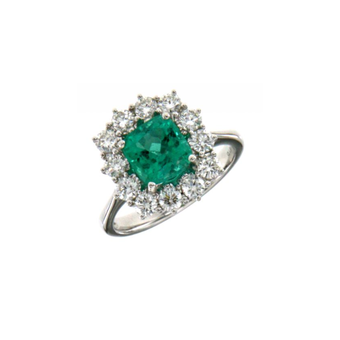 Anello fiore con smeraldo e diamanti