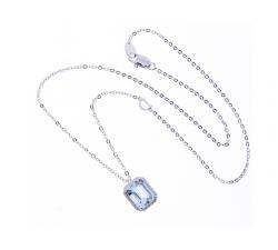 Collier Damiani Minou in oro bianco, diamanti e acquamarina taglio smeraldo