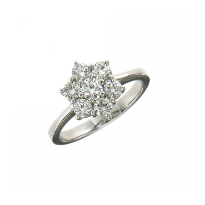 Anello fiore oro bianco e diamanti