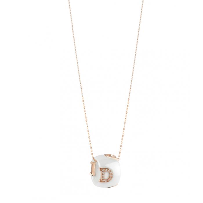 Collier Damiani D.ICON in Ceramica Bianca, oro rosa con diamanti