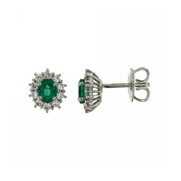 Orecchini in oro bianco con smeraldi e diamanti