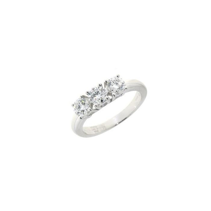 Anello trilogy in oro bianco con diamanti