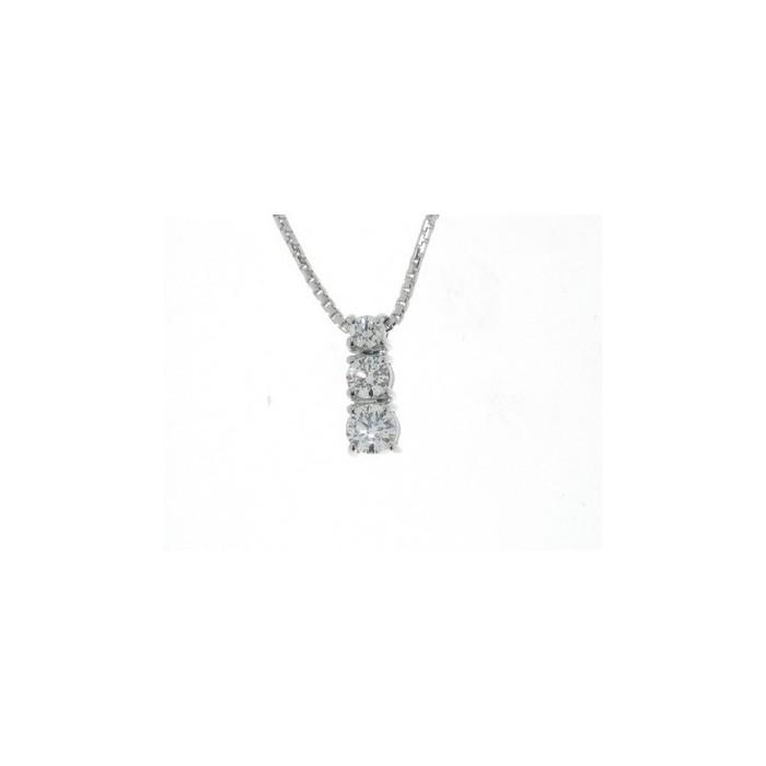 Collana trilogy in oro bianco con diamante