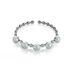 Bracciale a molla Bon Bon in oro bianco, diamanti, perla freshwater