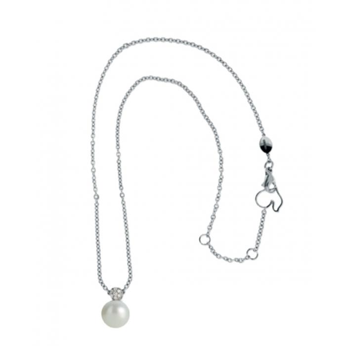 Collana Chantecler Bon Bon in oro bianco, diamanti e perla fwp
