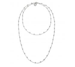 Catena in argento sferette con logo pendente cm 90