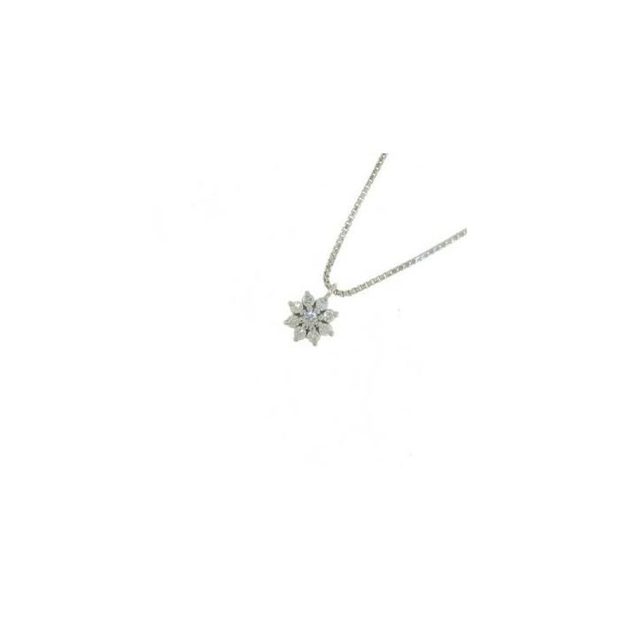 Collana fiore in oro bianco con diamanti