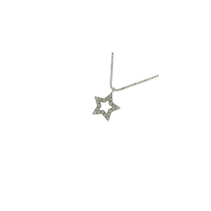 Collana stella in oro bianco con diamanti