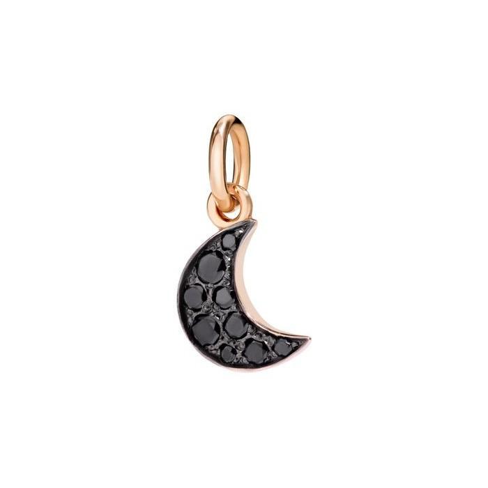 Ciondolo luna con diamanti neri