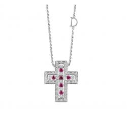 Collana Damiani Belle Epoque Croce con Rubini e Diamanti