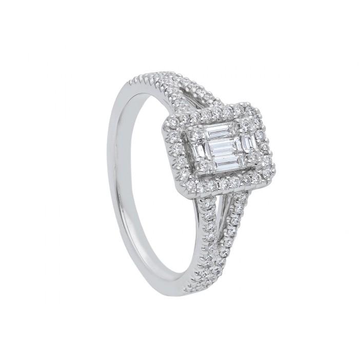 Anello Baguette in oro bianco e diamanti