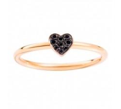 Anello cuore oro rosa diamanti neri