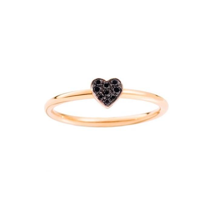 Anello un cuore oro rosa e diamanti black