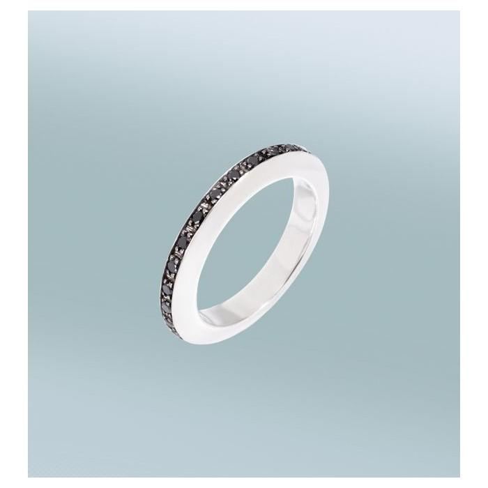 Anello Disc Argento e Diamanti Neri