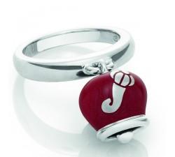 Anello campanella argento smalto rosso
