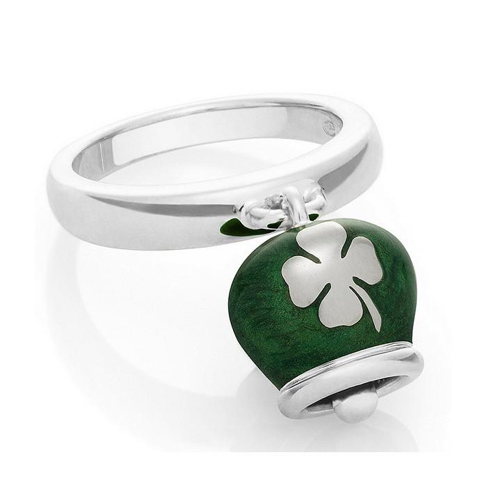 Anello campanella in argento e smalto verde perlato