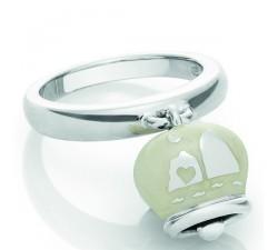 Anello campanella in argento e smalto bianco perlato