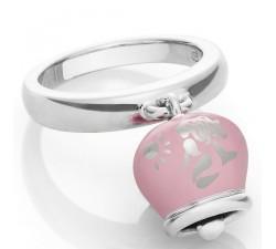 Anello campanella in argento e smalto rosa perlato