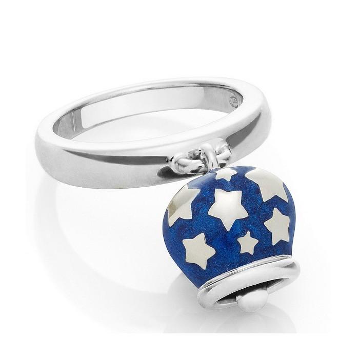 Anello campanella in argento e smalto blu perlato