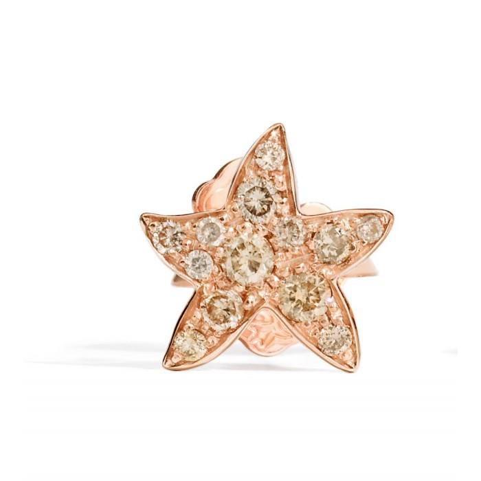 Mono orecchino stella diamanti brown