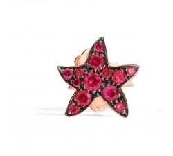 Mono orecchino stella rubini